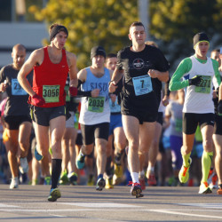 Runners start the Maine Marathon along Baxter Boulevard on Sunday morning.