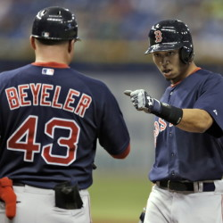 Boston Red Sox's first-base coach Arnie Beyeler will not return next season.