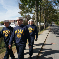 First-year students at Maine Maritime Academy march on campus Sunday. Photos by Tom Bell/Staff Writer