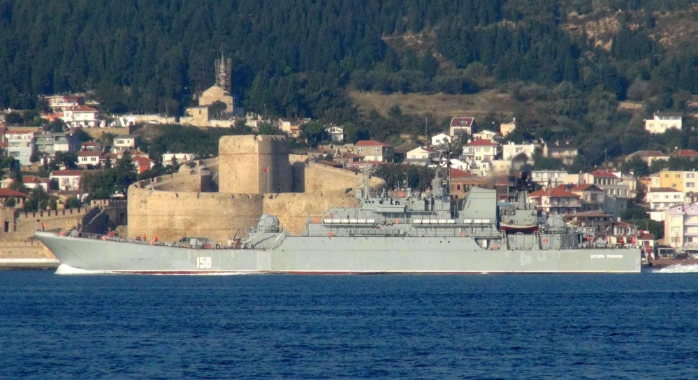 The Russian Navy ship Caesar Kunikov passes through the Dardanelles strait in Turkey en route to the Mediterranean Sea on Sunday. Turkey says Russia violated its airspace over the weekend.