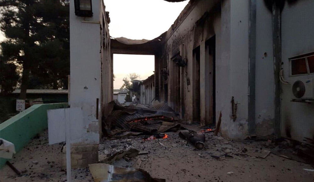 The burned Doctors Without Borders hospital is seen after explosions in the northern Afghan city of Kunduz on Saturday. The circumstances that led to the attack on the hospital remain murky.