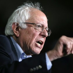 "Bernie Sanders speaks at a campaign rally Saturday in Springfield, Mass. He said in an interview, ""We have millions of working-class people who are voting for Republican candidates whose views are diametrically opposite to what voters want."""