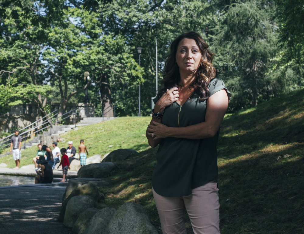 """""""If I can help one person, then maybe that one person can help another person,"""" says Laurie Bachelder, standing where she saw a man overdose in Deering Oaks."""