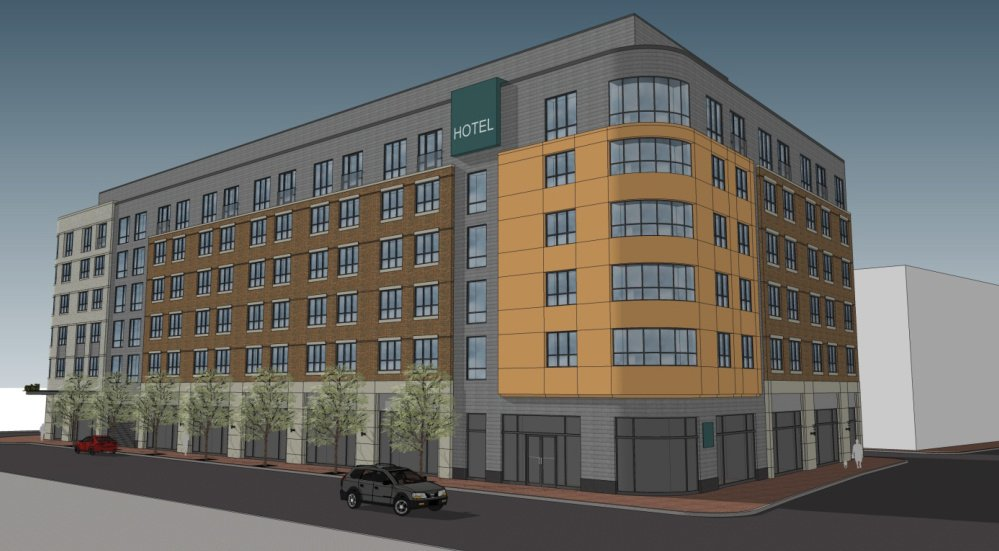 An application to Portland's Planning Department includes this rendering of the hotel that the Portland Norwich Group is proposing at Fore, Hancock and Thames Streets.