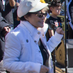 Yoko Ono dances in Central Park .
