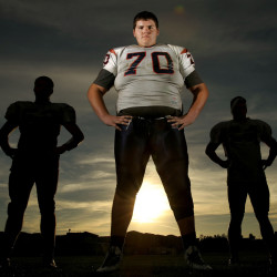 John Krahn of Martin Luther King High in Riverside, Calif., may not have the speed and athleticism for major college football. But gosh, he's big. Bigger than any current National Football League player.