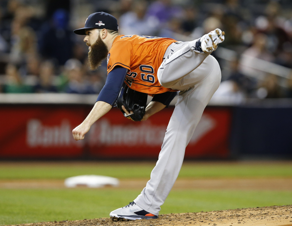 Houston Astros starting pitcher Dallas Keuchel pitches in the fifth inning. He gave up just three hits to the Yankees in six innings, striking out seven and walking one.