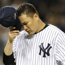 Yankees starter Masahiro Tanaka leaves the mound in the fifth inning of what turned out to be New York's last game of the season.