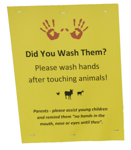 This sign is posted near the petting zoo at the Fryeburg Fair.