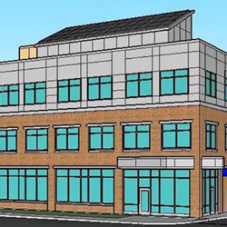 An artist's rendering shows the proposed Bangor Savings Bank building at 20 Marginal Way in Portland.