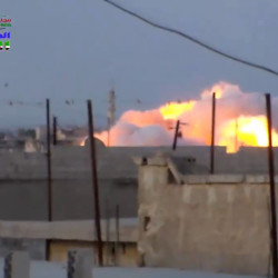 This image taken from video provided by the Syrian activist-based media group Syrian Revolutionary Command Council in Hama, which has been verified and is consistent with other AP reporting, shows smoke rising after a Russian airstrike hit buildings in the town of Latamna in the area of Hama in Eastern Syria, on Wednesday.