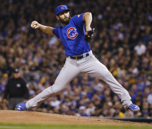 Cubs starting pitcher Jake Arrieta throws against the Pirates in the first inning of Tuesday night's National League wild card game. Arrieta shut out the Pirates on just four hits as Chicago advanced to the NL Division Series.