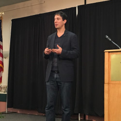 Eric Klinenberg, an author, sociologist and professor at New York University, speaks Wednesday at the Maine Municipal Association's annual convention in Augusta.