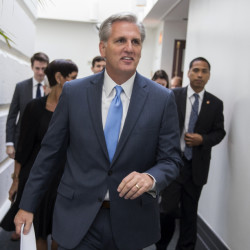 House Majority Leader Kevin McCarthy leaves a meeting on Capitol Hill in Washington on Thursday, ahead of a scheduled nomination vote to replace House Speaker John Boehner, who is stepping down and retiring from Congress.