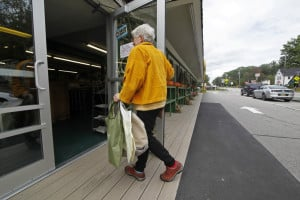 Victoria Simon of BYOB-York (Bring Your Own Bags) on a shopping trip at The Golden Harvest in Kittery.