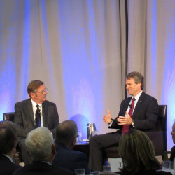 Portland Regional Chamber of Commerce CEO Chris Hall, left, interviews Bank of America CEO Brian Moynihan on Thursday in Portland before a group of 150 local business leaders.