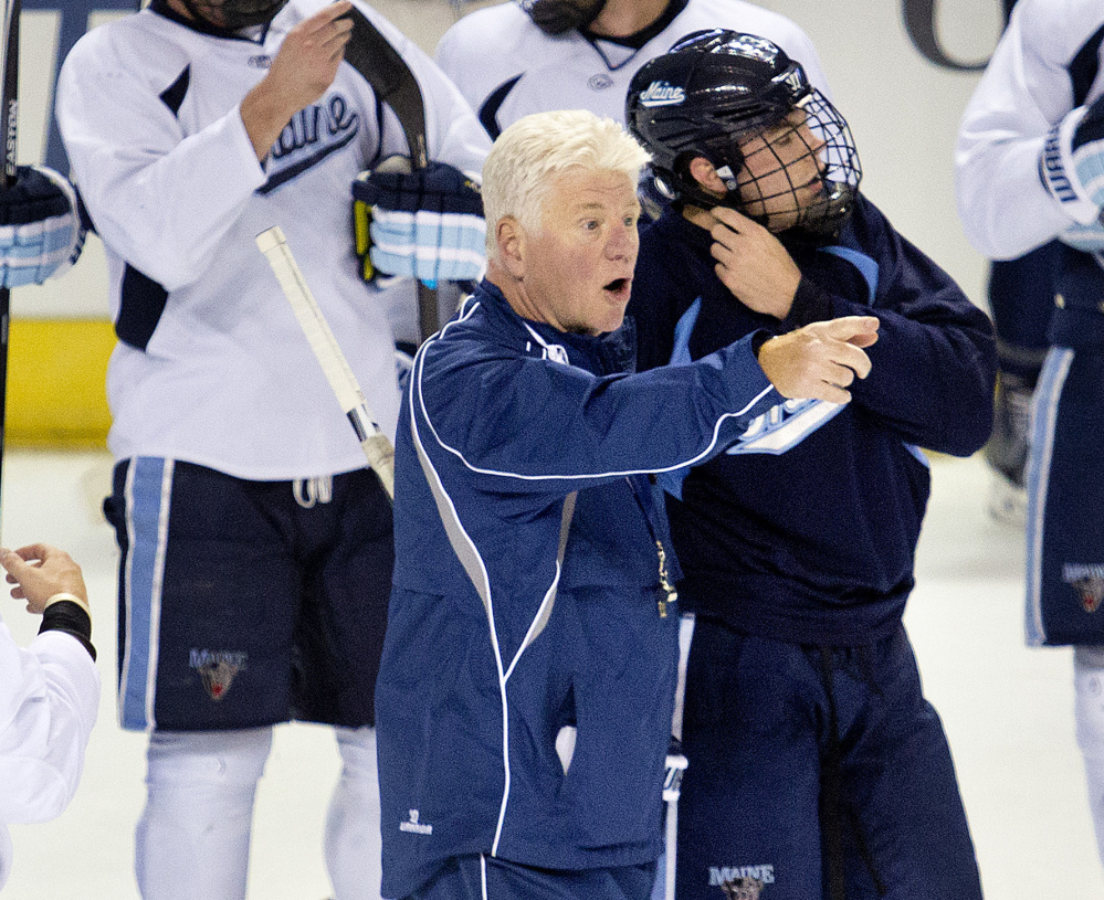 Maine hockey coach Red Gendron leads his team through a final practice Thursday at the Cross Insurance Arena before Friday night's opener against Michigan State.