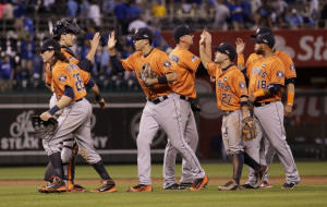 Houston players celebrate Thursday night after their victory over the Kansas City Royals in Game 1 of the American League Division Series.
