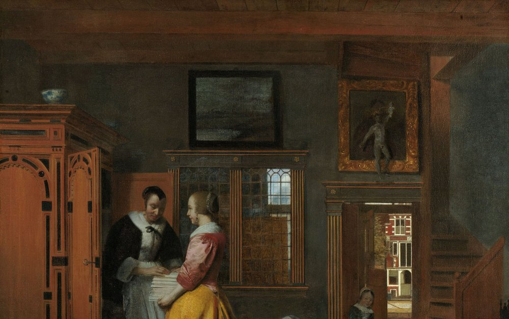Interior with Women beside a Linen Chest Pieter de Hooch (Dutch, 1629–after 1684) 1663 Oil on canvas *Rijksmuseum, Amsterdam. On loan from the City of Amsterdam *Courtesy, Museum of Fine Arts, Boston