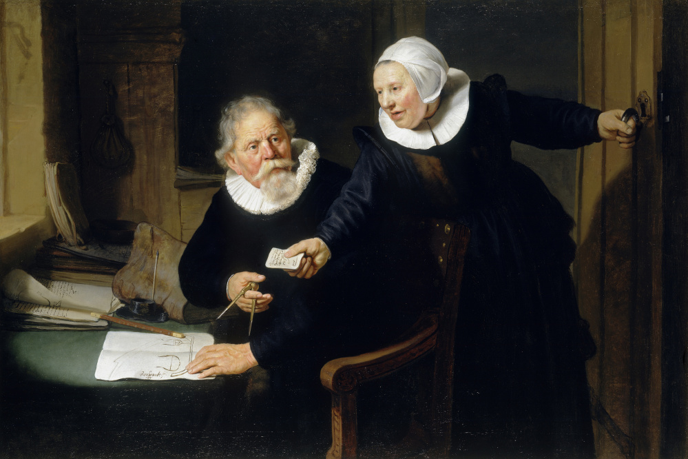"""The Shipbuilder and his Wife"": Jan Rijcksen (1560/2‑1637) and his Wife, Griet Jans. Rembrandt Harmenszoon van Rijn (Dutch, 1606–1669) 1633, Oil on canvas. Lent by Her Majesty Queen Elizabeth II."