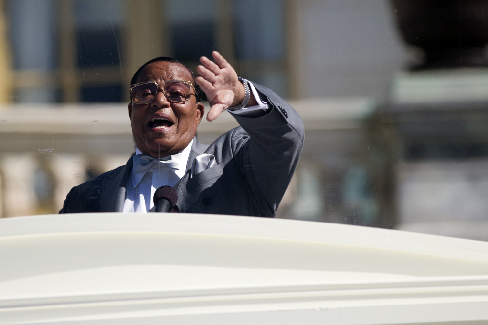 Nation of Islam leader Louis Farrakhan speaks during a rally to mark the 20th anniversary of the Million Man March on Saturday. The Associated Press