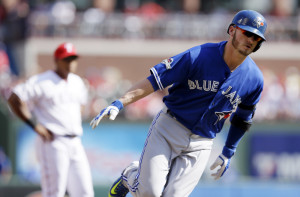 Toronto third baseman Josh Donaldson rounds the bases after hitting a two-run home run in the first inning, starting a run in which the Blue Jays took a 7-0 lead by the third inning.