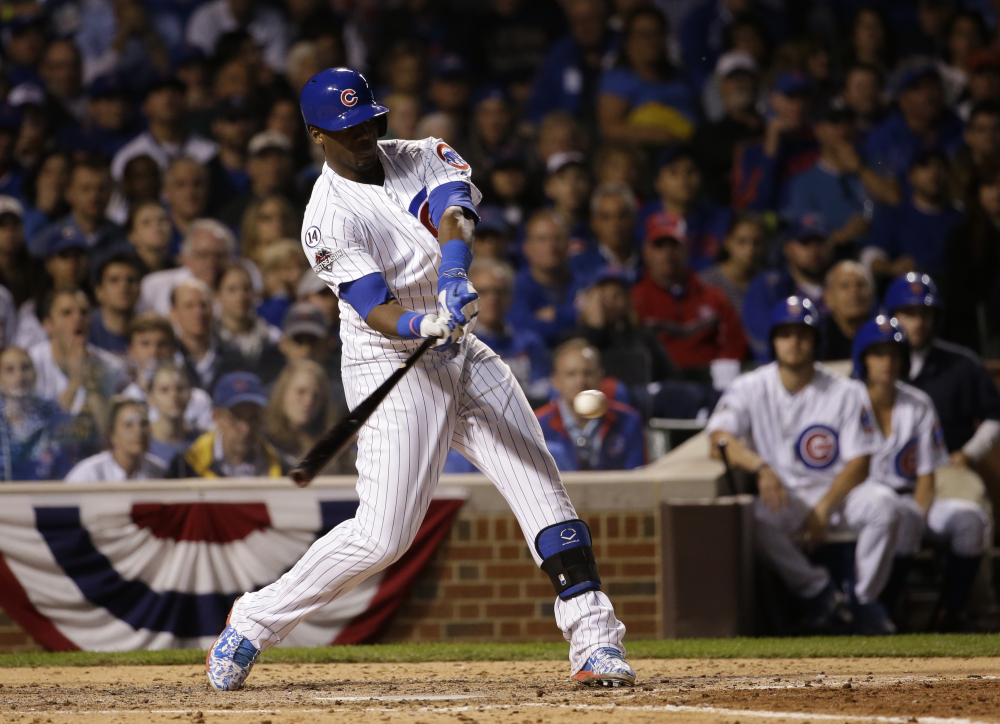 The Cubs' Jorge Soler hits a home run in the sixth inning of Monday's game in Chicago. Solder's shot gave the Cubs what proved to be the winning run.