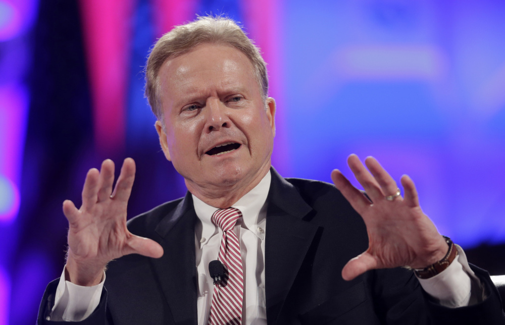 Former Virginia Sen. Jim Webb speaks in Baltimore in June. He has been critical of Hillary Clinton's handling of the conflict in Libya. The Associated Press