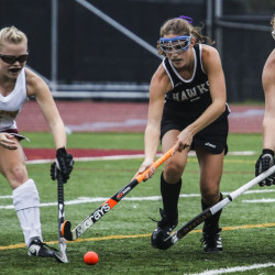 Thornton Academy's Sidney Hurst, left, and Grace Decker, right try to head off Marshwood's Leah Glidden in Tuesday's game at Saco. TA won, 1-0.