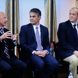 Candidates for mayor of Portland, from left to right, Michael Brennan, Ethan Strimling, and Thomas MacMillan debate at WCSH6 in Portland on Tuesday, October 13, 2015. Photo of WCSH6 video stream