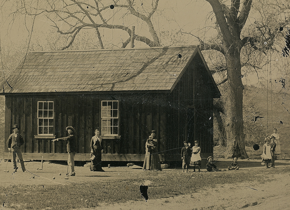 This photograph of Billy the Kid and his gang playing croquet is believed to have been taken a month before the Lincoln County War in New Mexico Territory.