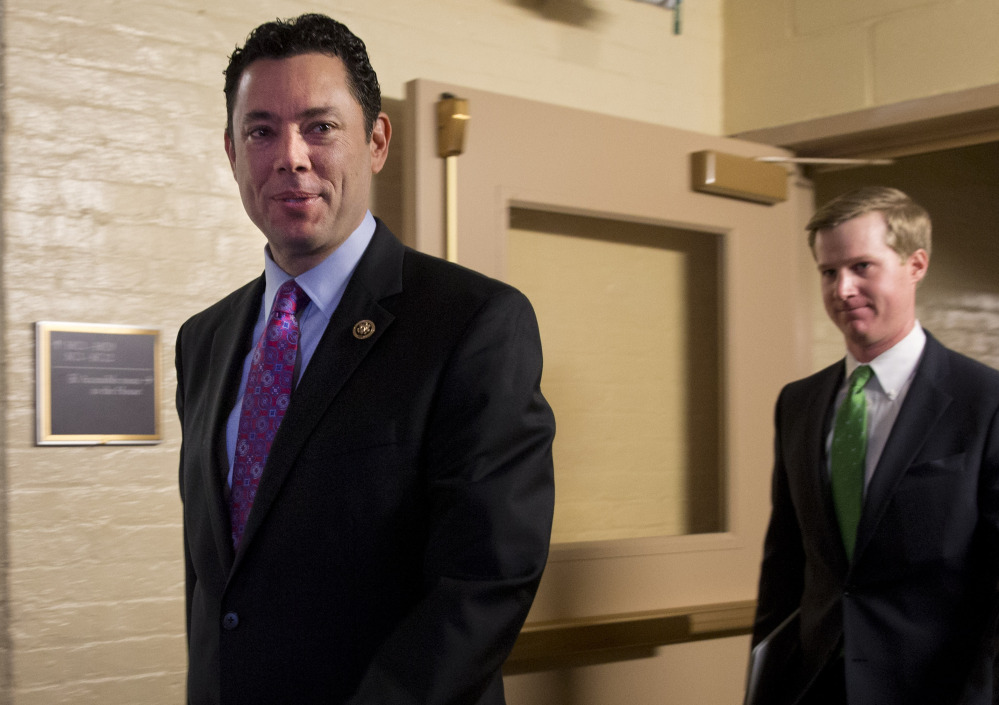 House Oversight and Government Reform Committee Chairman Jason Chaffetz, R-Utah, left, says he has set up a display area in the Capitol for lawmakers to view footage turned over by an anti-abortion group.