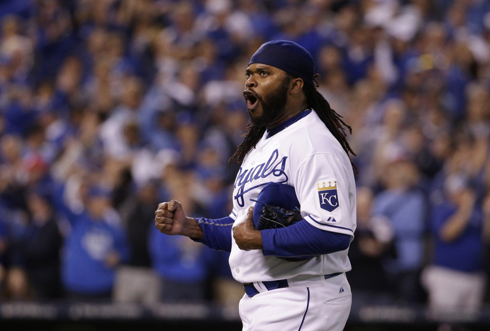 Royals starting pitcher Johnny Cueto is pumped up as he walks off the field after the eighth inning. Cueto allowed two runs on two hits in eight innings, retiring the last 19 Astros he faced.