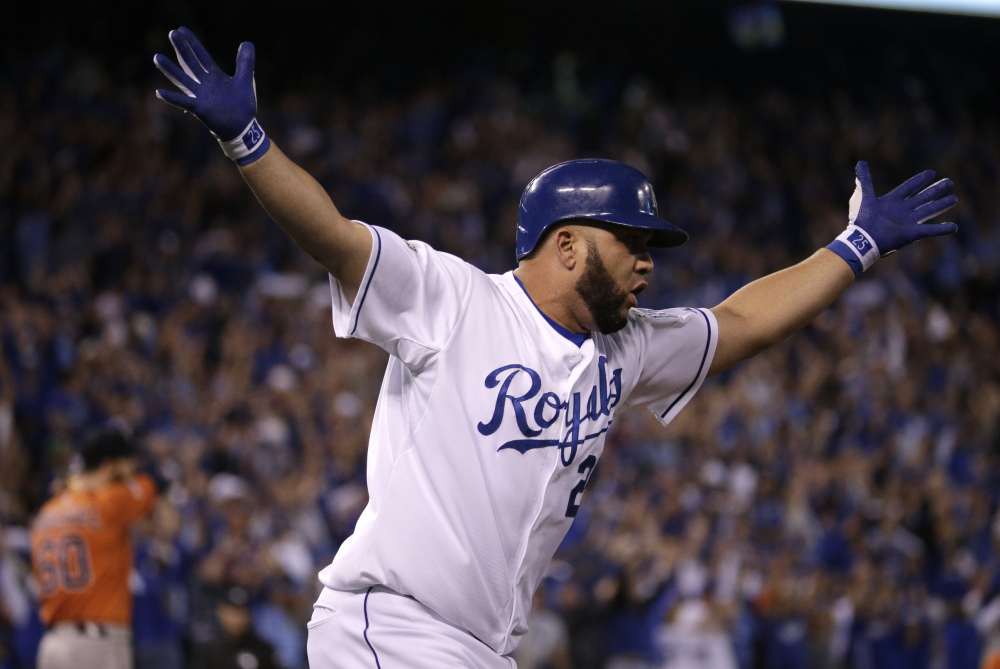 Kansas City's Kendrys Morales celebrates his three-run home run in the eighth inning. The runs put the game – and the series – out of reach for Houston.