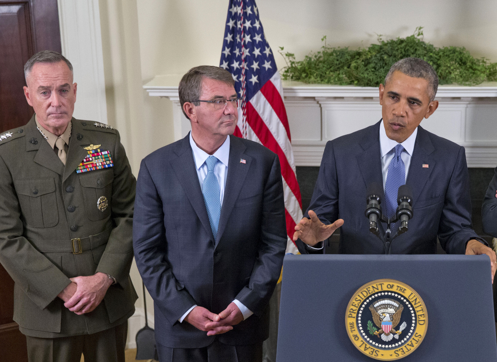 President Obama, accompanied by Joint Chiefs Chairman Gen. Joseph Dunford, left, and Defense Secretary Ash Carter on Thursday. Obama announced that he will keep U.S. troops in Afghanistan when he leaves office in 2017. The Associated Press