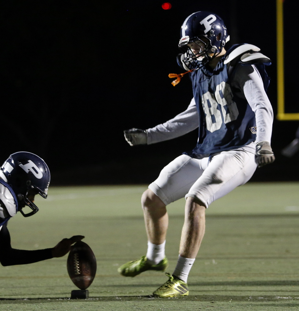 John Williams has made a huge difference for unbeaten Portland this season, including key field goals and kickoffs into the end zone.