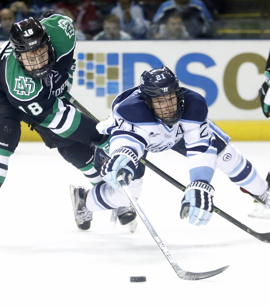 Cam Brown, right, and the Black Bears are energized after their good play vs. North Dakota last weekend.