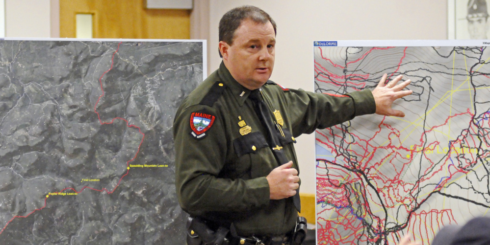 Lt. Kevin Adam of the Maine Warden Service talks at an Augsuta news conference on Friday about the recent discovery of skeletal remains believed to be those of missing hiker Geraldine Largay.