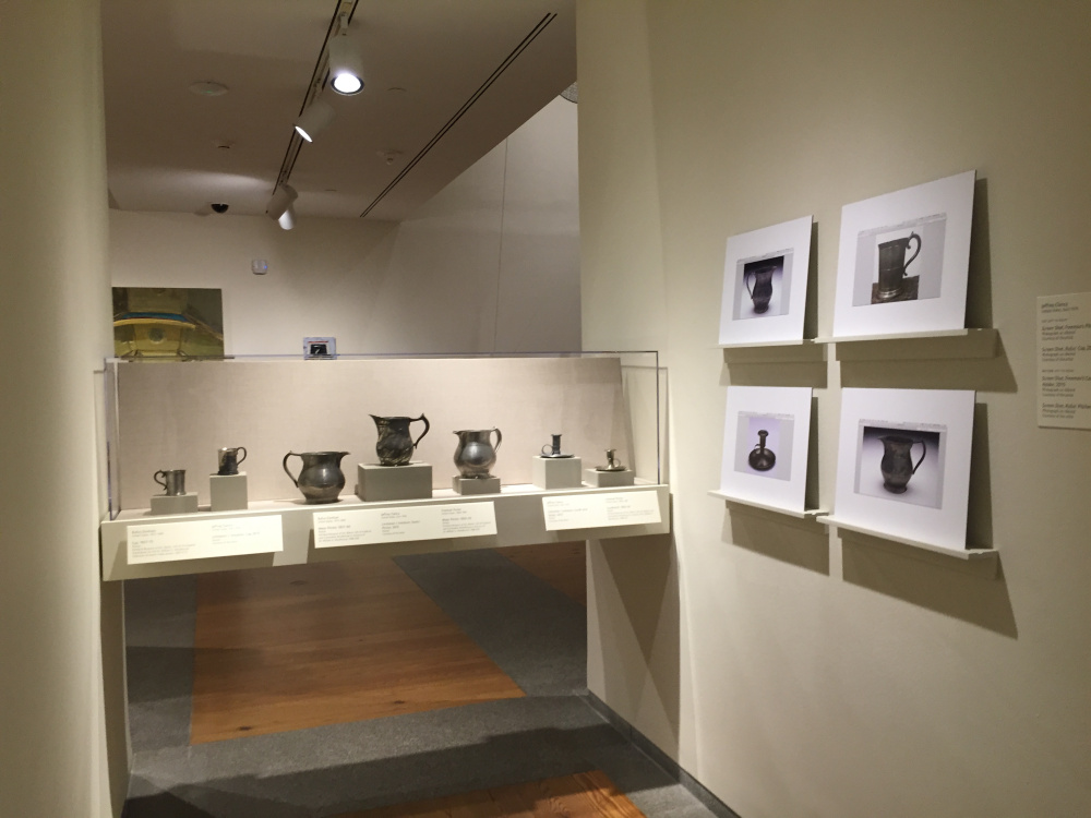 Jeffrey Clancy's pewter vessels were made only from the images displayed on the wall. Clancy did not see the PMA's original, historical objects he replicated until his own versions were finished.