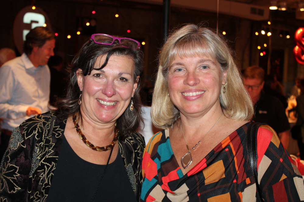 Kathy Taylor, left, of Cumberland and Sue Berube of North Yarmouth turn out for Ovations Offstage.