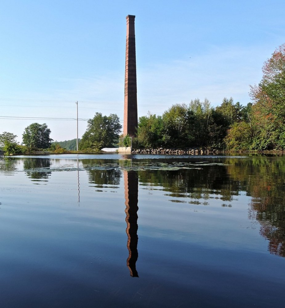 Towering over Taylor Pond, this 101-foot chimney is a landmark in Mt. Vernon, all that remains of a tannery built in 1881. Taylor Pond and nearby Hopkins Pond make for a lovely fall outing by canoe.