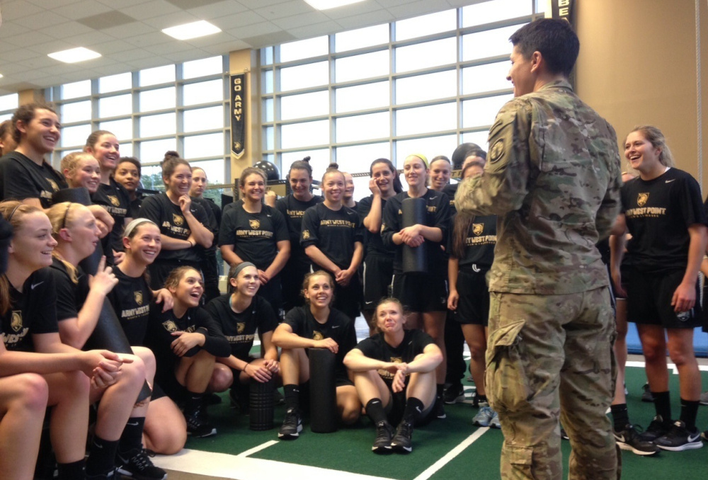 Recent Ranger graduate Capt. Kristen Griest visits the West Point women's varsity lacrosse team that is being elevated to varsity status, a move that should help the service academy attract even more female cadets.