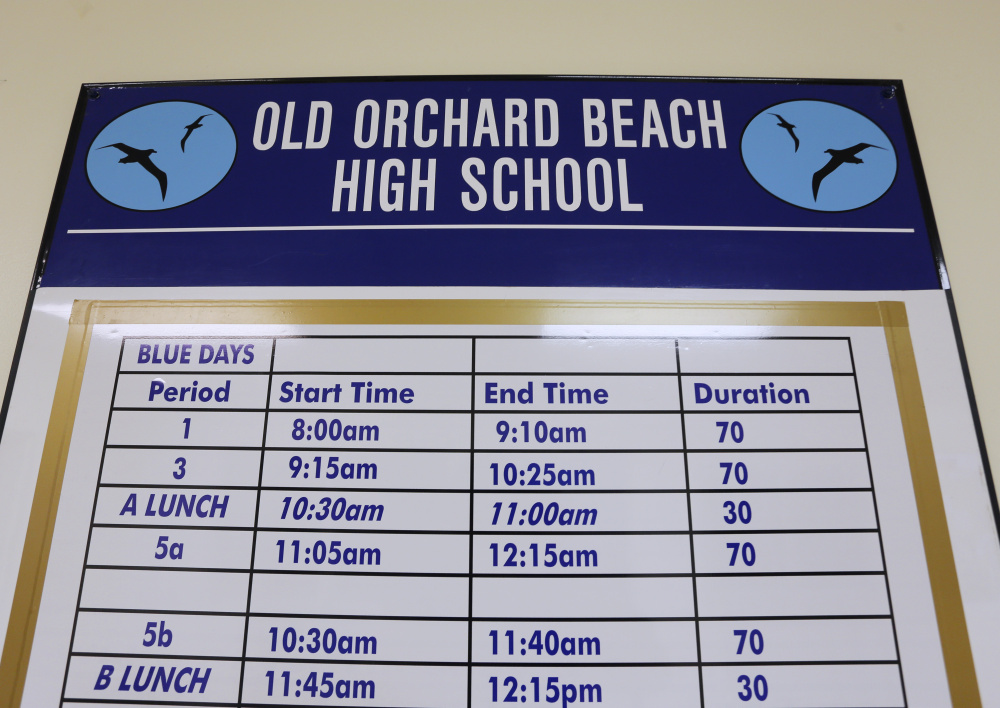 Old Orchard Beach High School has a half-hour later start time this year. The school eliminated home room, enabling students to start at 8 a.m. instead of 7:30.