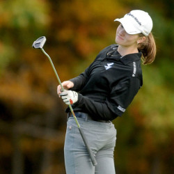 Lincoln Academy's Bailey Plourde uses some body english as she putts on hole 3 in the 2015 High School Individual championships at Natanis Golf Course in Vassalboro on Saturday.
