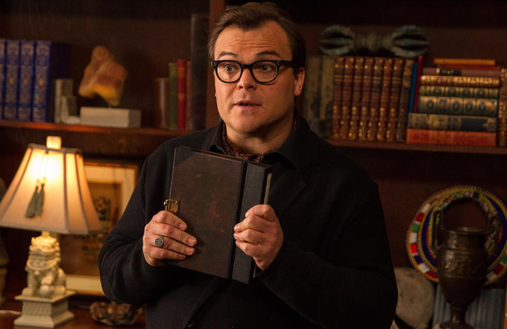 "Jack Black who stars as R.L. Stine, Slappy and Invisible Boy, appears in a scene in Columbia Pictures' ""Goosebumps."""