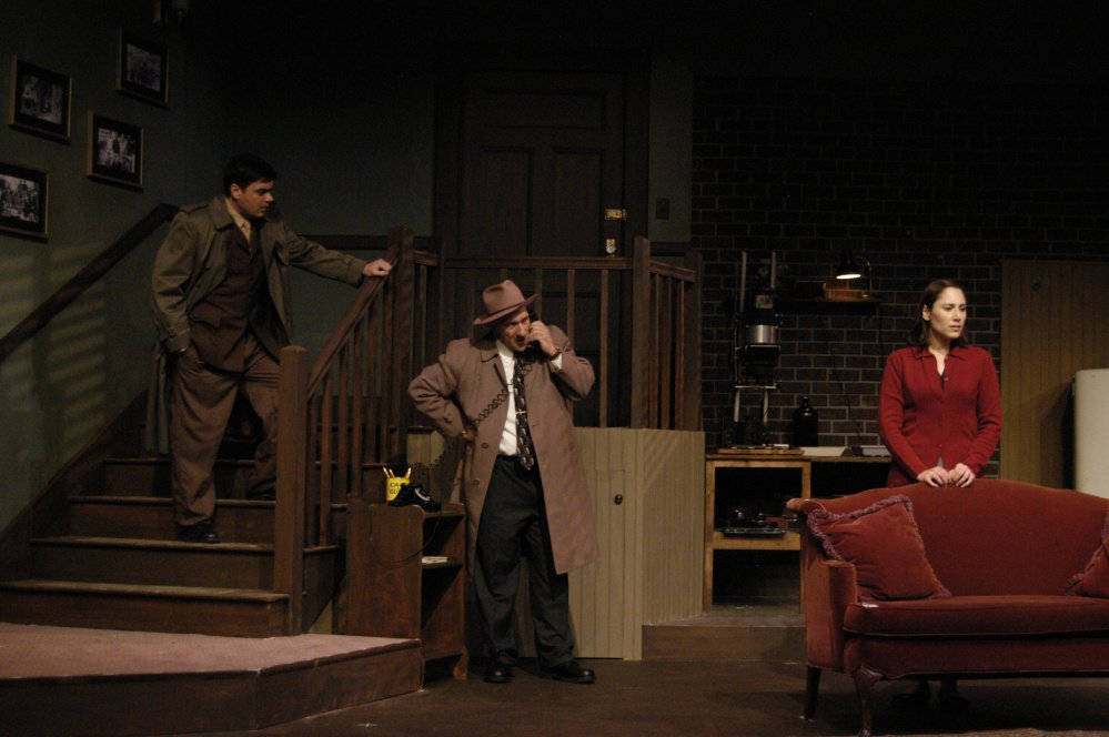 "Jason Cadieux, Michael Serratore and Amy Hutchins in ""Wait Until Dark,"" playing at The Public Theatre through Oct. 25."