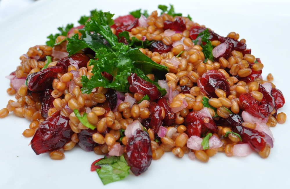 Colleges report students want more cooked whole grains. This wheat berry and cranberry salad is served regularly at Bowdoin College in Brunswick.