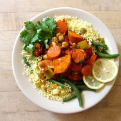 Featuring vegetables from the on-campus farm, this harissa chickpea and vegetable stew with golden raisin couscous and green beans is one of the vegan dishes served at the College of the Atlantic in Bar Harbor. Courtesy College of the Atlantic