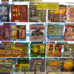 Lottery tickets are on display at the Waite General Store in Washington County.