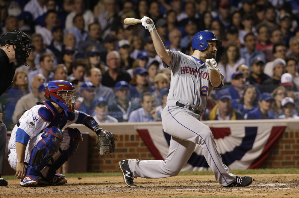 The Mets' Daniel Murphy, hitting a double in the seventh inning of Game 4 on Wednesday night in Chicago, was unstoppable in the series against the Cubs. Murphy was named the series MVP after homering for a postseason-record sixth straight game.